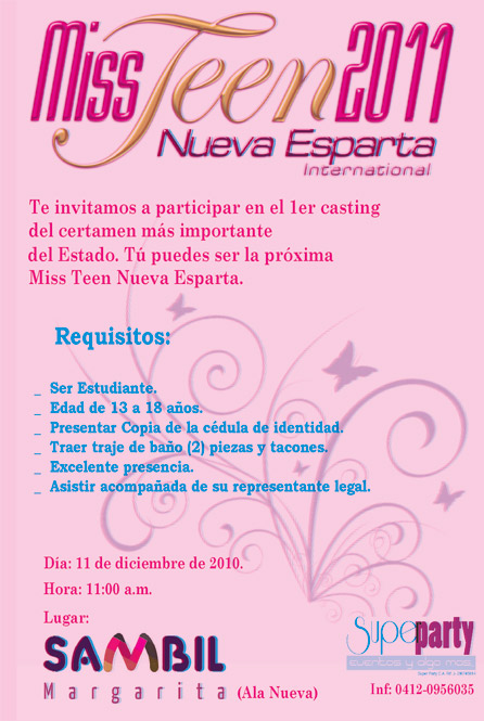 Casting Call: Miss Teen 2011 Nueva Esparta International